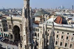 Panoramic view from Duomo viewpoint to Carnival celebration. Stock Photo