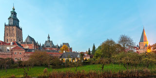 Panoramic view of the Dutch medieval city of Zutphen Stock Photos