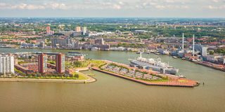 Panoramic view of The Dutch river Maas in Rotterdam Stock Photos
