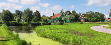 Panoramic view on dutch village. Stock Photos