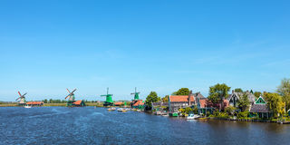 Panoramic view of the Dutch Zaanse Schans Stock Image