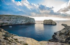 Panoramic view of Dwejra bay with Fungus Rock, Gozo, Malta.  Stock Photo