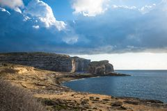 Panoramic view of Dwejra bay with Fungus Rock, Gozo, Malta.  Stock Photography