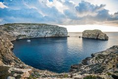 Panoramic view of Dwejra bay with Fungus Rock, Gozo, Malta.  Stock Images