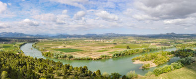 Panoramic view of the Ebro River near Tivissa, Spain Stock Images