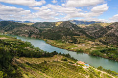 Panoramic view of the Ebro River, Spain Royalty Free Stock Photos