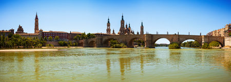 Panoramic view from Ebro river. Zaragoza, Aragon Royalty Free Stock Photos
