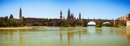 Panoramic view from Ebro river. Zaragoza, Aragon Royalty Free Stock Photos