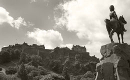Panoramic view of Edinburgh Castle and Royal Scott Greys monumen Royalty Free Stock Image
