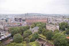 A panoramic view of Edinburgh from the castle hill  Royalty Free Stock Photo