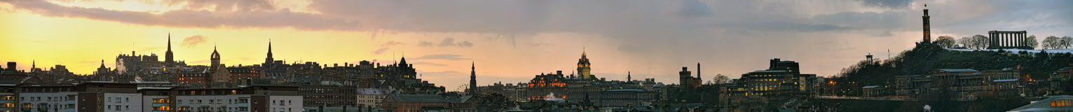 Panoramic view of Edinburgh, Scotland, at sunset. Panoramic view of Edinburgh, Scotland, UK, skyline at sunset in winter. Many of the city's attractions are Royalty Free Stock Photo