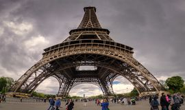 Panoramic of the Eiffel tower stock image