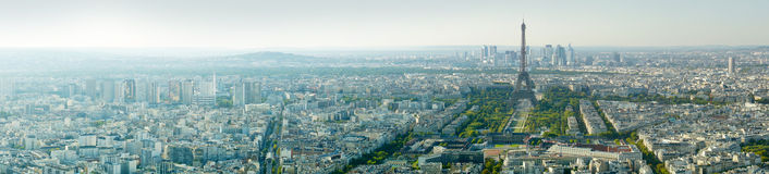 Panoramic view of the Eiffel tower, Paris, France, Europe. Royalty Free Stock Image