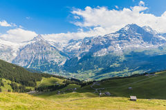 Panoramic view of Eiger, Schreckhorn and the valley Royalty Free Stock Image