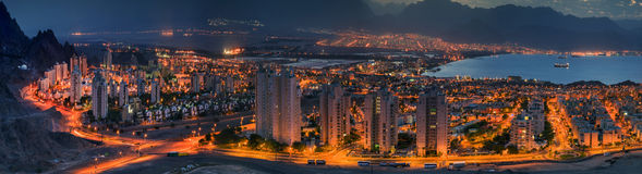 Panoramic view on Eilat city and Aqaba gulf at dawn Stock Images