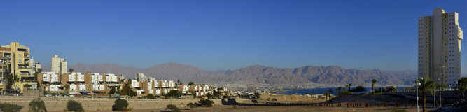 Panoramic view on Eilat city and Aqaba gulf Royalty Free Stock Image