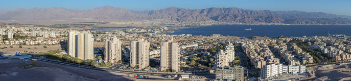 Panoramic view on Eilat city and Aqaba gulf Royalty Free Stock Images