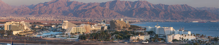 Panoramic view on Eilat and the Gulf of Aqaba (Red Sea) Stock Image