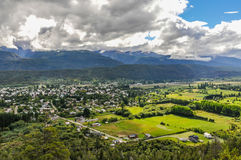 Panoramic view of El Bolson, Argentina. Panoramic view of El Bolson, Patagonia, Argentina stock photography