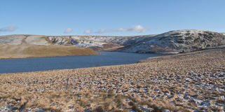 Panoramic view of Elan Valley, Rhayader, Powys. The dams at Elan Valley, with snow capped mountains Royalty Free Stock Photos