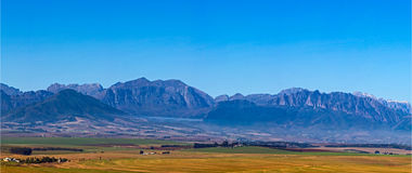 Panoramic View of Elandskloof Mountains near Wellington Stock Image