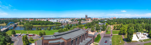 Panoramic view of Elbe, cathedral and old town in Magdeburg Stock Photos