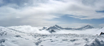 Panoramic view from Elbrus. Panoramic view from Mir station at the Elbrus mountain royalty free stock image
