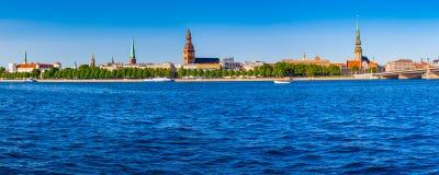 Panoramic view on the embankment of the Daugava River in Riga Stock Image