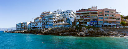 Panoramic view of the embankment of a popular tourist town - Agios Nikolaos Royalty Free Stock Photo