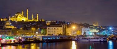 Panoramic view of Eminonu at night with Suleymaniye Mosque, Istanbul, Turkey Stock Image