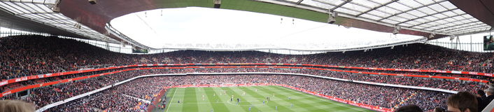 Panoramic View of Emirates Stadium. During Arsenal V Chelsea 0-0 draw football/soccer match played on 21st April 2012, London, England Royalty Free Stock Images