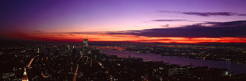 Panoramic view of Empire State Building, World Trade Center, Hudson River, Manhattan, NY and New Jersey Royalty Free Stock Photo