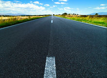 Panoramic view of empty asphalt road, rural scene Royalty Free Stock Photos