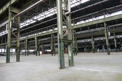 Panoramic view of empty industrial plant site nowadays site for meetings and expositions OGR. Panoramic view of empty industrial plant site nowadays site for royalty free stock image