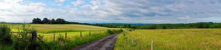 Panoramic View of English Country Lane Royalty Free Stock Image