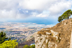 Panoramic view from Erice tuwards Trapani and Egadi Islands, Italy Royalty Free Stock Image