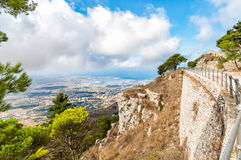 Panoramic view from Erice tuwards Trapani and Egadi Islands, Italy Stock Photography