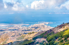Panoramic view from Erice tuwards Trapani and Egadi Islands, Italy Royalty Free Stock Photos