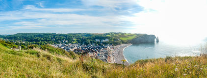 Panoramic view of Etretat, french city Stock Image