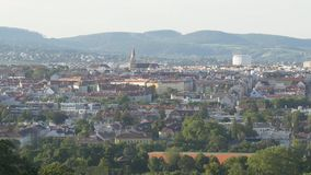 Panoramic view of european city from above stock video footage