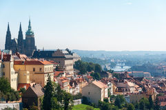 Panoramic view of the European city from the hill Royalty Free Stock Images
