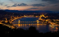 Panorama of evening Budapest royalty free stock photo