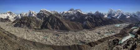 Panoramic view of Everest Mountain Range from Gokyo Ri, Nepal Royalty Free Stock Photography