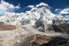 Panoramic view of Everest and Nuptse Stock Photo