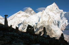 Panoramic view of Everest and Nuptse from Kala Patthar Royalty Free Stock Photography