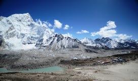 Panoramic view of the Everest ridge Stock Photos