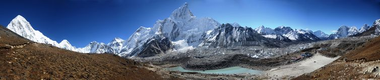 Panoramic view of the Everest ridge Stock Photo
