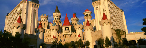 Panoramic view of The Excalibur Hotel and Casino, Las Vegas, NV at sunset Stock Images