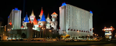 Panoramic view at The Excalibur Hotel at night in Las Vegas Stock Photo