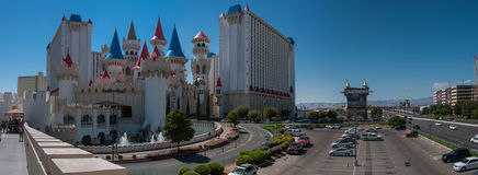 Panoramic view at The Excalibur Hotel and West Tropicana Ave in Royalty Free Stock Photography